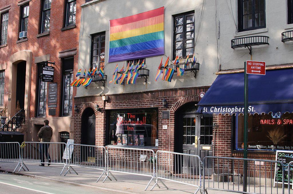 LGBT flag above Stonewall Inn